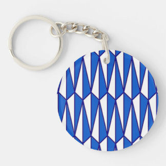 Mid-Century geometric, cobalt and white Keychain