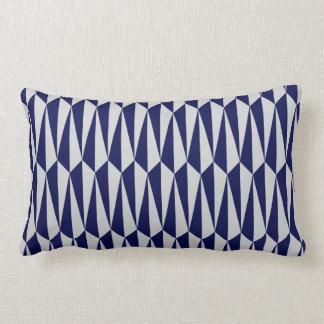 Mid-Century geometric, navy blue and grey Lumbar Pillow