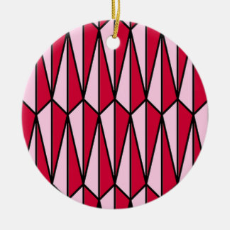 Mid-Century geometric, rose red and pink Ceramic Ornament