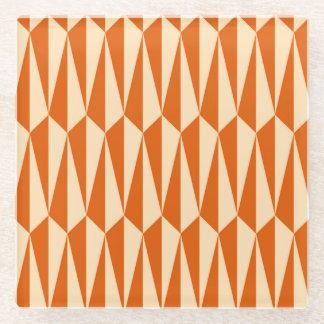 Mid-Century geometric, shades of orange Glass Coaster