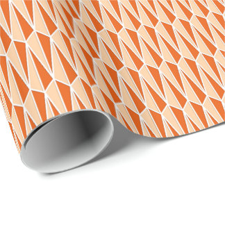 Mid-Century geometric, shades of orange Wrapping Paper