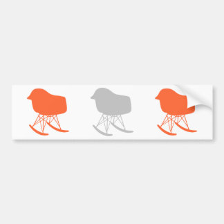 Mid-Century Gray Pattern Chair Silhouette Bumper Stickers