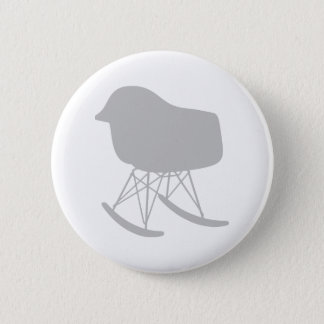 Mid-Century Gray Pattern Chair Silhouette Pinback Button