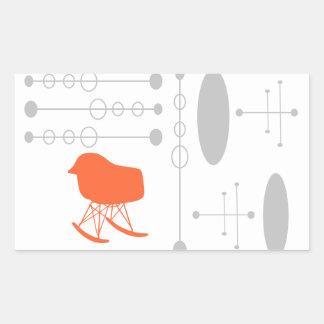 Mid-Century Gray Pattern Chair Silhouette Rectangular Sticker