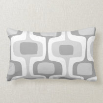 Mid-Century Gray Yellow Connect Box Retro Pattern Lumbar Pillow