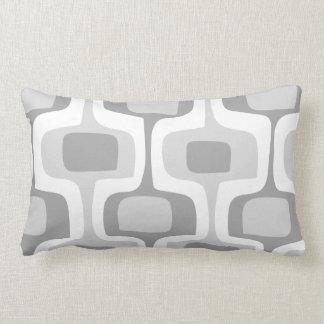 Mid-Century Gray Yellow Connect Box Retro Pattern Lumbar Pillow