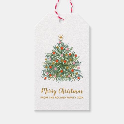 Mid Century Hand-drawn Christmas Tree Gift Tags