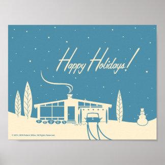 Mid-Century Happy Holidays Snowscene-Blue Poster