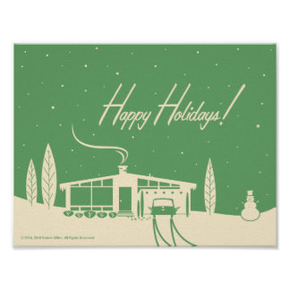 Mid-Century Happy Holidays Snowscene-Green Poster