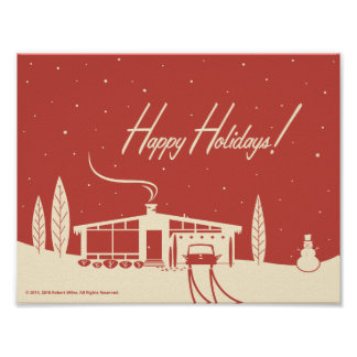 Mid-Century Happy Holidays Snowscene-Red Poster