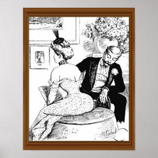 Mid-Century Lady Corset Man Leering Poster