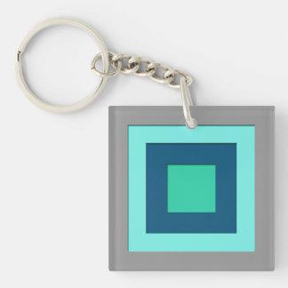 Mid-Century layered squares - blue & grey / gray Keychain