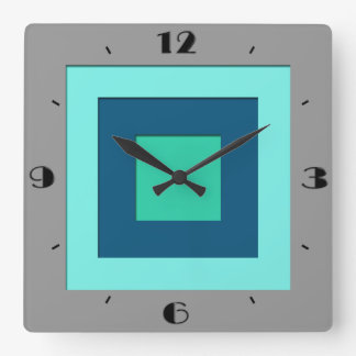 Mid-Century layered squares - blue & grey / gray Square Wall Clock