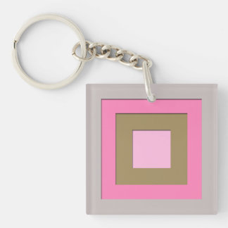 Mid-Century layered squares - grey / gray & pink Keychain
