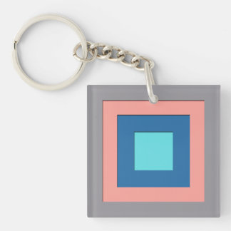 Mid-Century layered squares - grey, peach & blue Keychain