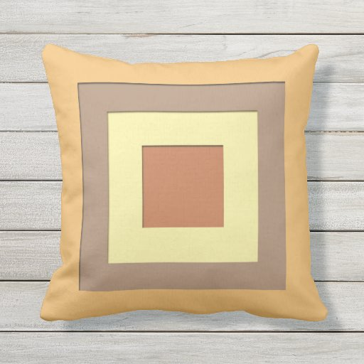 Mid Century Outdoor Pillows : Mid-Century layered squares - Mustard Yellow & Tan Outdoor Pillow Zazzle