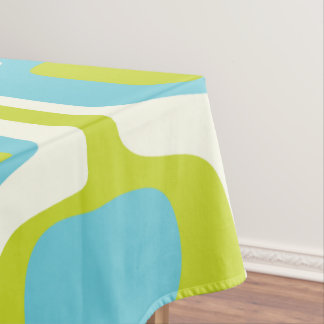 Good Mid Century Lime And Aqua Ovals And Circles Tablecloth