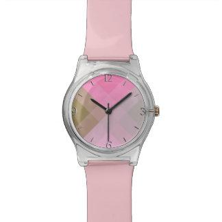 Mid-Century mega plaid - grey / gray & pink Wristwatch