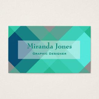 Mid-Century mega plaid - turquoise & grey Business Card