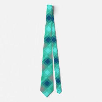 Mid-Century mega plaid - turquoise & grey Tie
