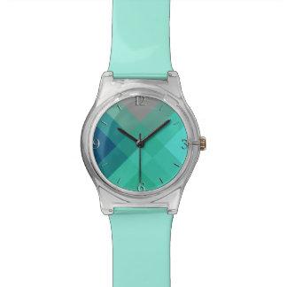 Mid-Century mega plaid - turquoise & grey Wristwatch
