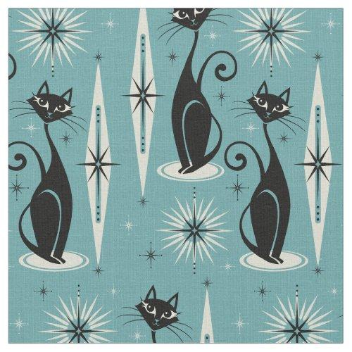 Mid Century Meow Retro Atomic Cats on Blue II Fabric