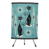 Mid Century Meow Retro Atomic Cats on Blue - Large Tripod Lamp
