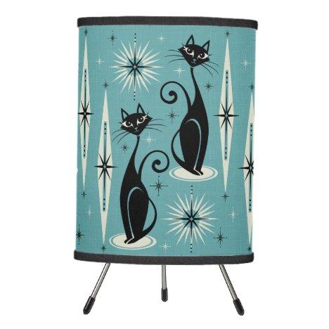 Mid Century Meow Retro Atomic Cats on Blue - Large Tripod Lamp
