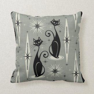 Mid Century Meow Retro Atomic Cats on Gray Throw Pillow