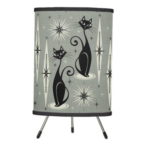 Mid Century Meow Retro Atomic Cats on Gray Tripod Lamp
