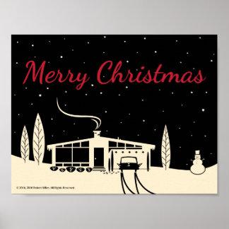 Mid-Century Merry Christmas Snowscene-Black Poster