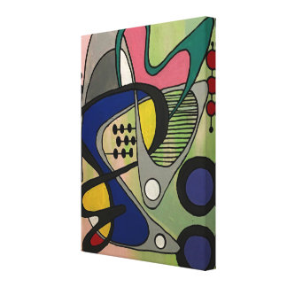 'Mid-Century Mod Abstract, Astro Picnic' painting Canvas Print