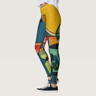 'Mid Century Mod Cocktails' painting on a Leggings