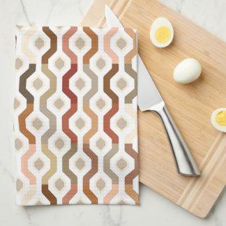 Mid Century Mod Geometric Link Pattern Kitchen Towel