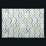 """Mid Century Mod Geometric Link Pattern Placemat<br><div class=""""desc"""">Geometric Hexagon Chain Link Pattern in beautiful blues and greens in color block. These mid-century hues of blue brown,  avocado,  green and teal add a retro feel.  Also available in blankets,  pillows,  electronics and more. Search by product title.</div>"""