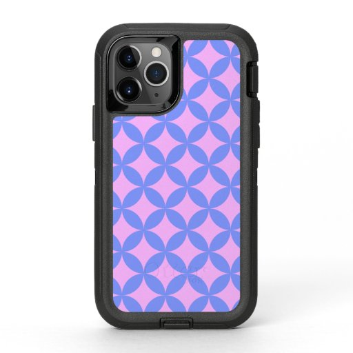 Mid Century Mod Pattern in Pink and Periwinkle OtterBox Defender iPhone 11 Pro Case