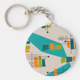 Mid-Century Modern Abstract #55 Basic Round Button Keychain