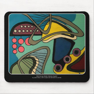 'Mid-Century Modern Abstract Aquatic' painting on Mouse Pad