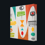 """Mid Century Modern Abstract Art Canvas Print<br><div class=""""desc"""">Mid-Century Modern Wrapped Canvas,  colorful funky abstract squares and moon shapes in shades of orange,  gold,   avocado and teal and grey.  A perfect addition to your mid century style.</div>"""