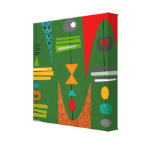Mid Century Modern Abstract Art Green Canvas Print