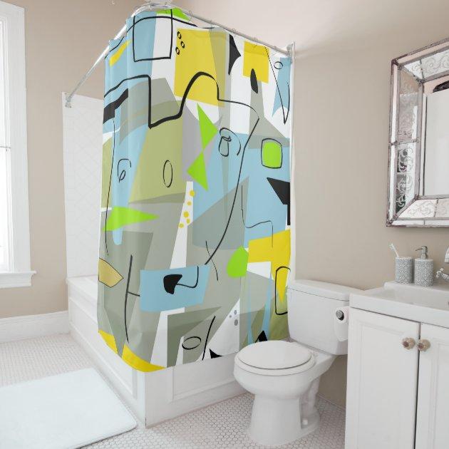 Mid Century Modern Abstract Blue Shower Curtain Zazzle Com