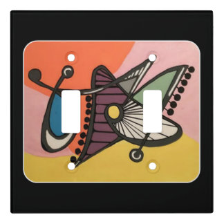 'Mid-Century Modern Abstract, Butterfly' painting Light Switch Cover