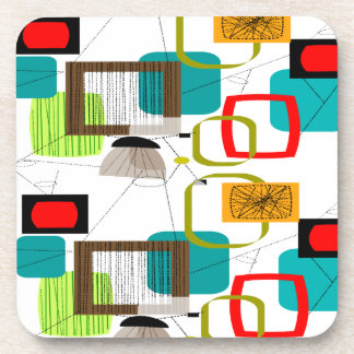 Mid-Century Modern Abstract Design Drink Coaster
