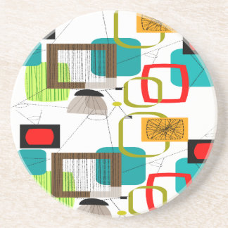 Mid-Century Modern Abstract Design Sandstone Coaster