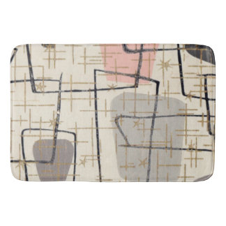 Mid Century Modern Abstract Fabric Bath Mat