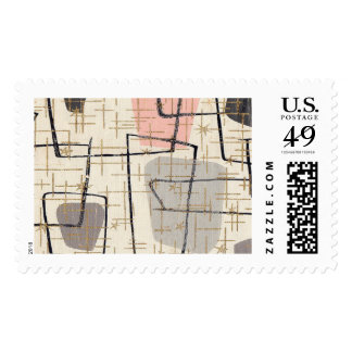 Mid Century Modern Abstract Fabric Postage Stamps