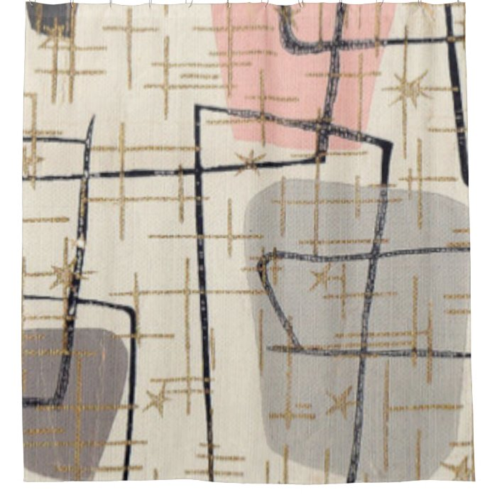 Mid Century Modern Abstract Fabric Shower Curtain Zazzle