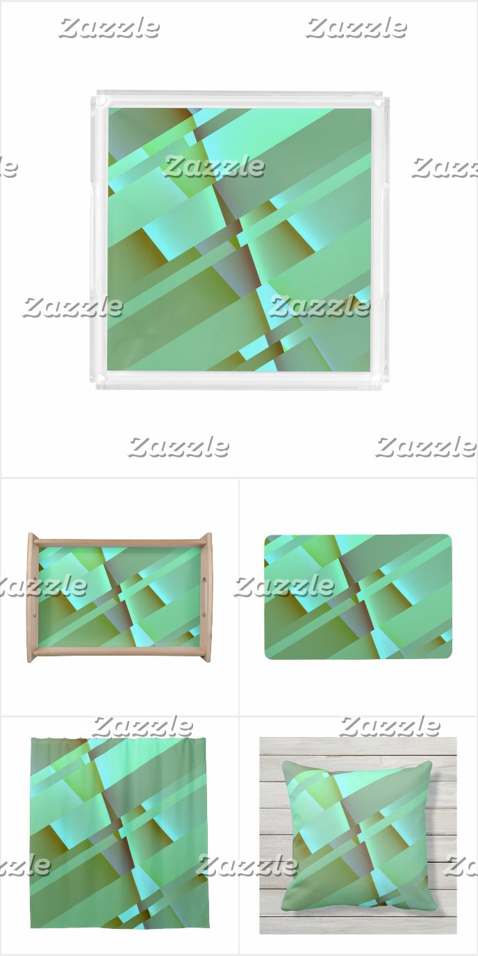 Mid Century Modern Abstract in Pastel Green
