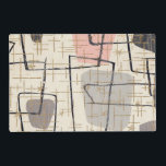 """Mid Century Modern Abstract Laminated Placemat<br><div class=""""desc"""">This Mid Century Modern Abstract Laminated Placemat features a replica of a vintage 1950&#39;s fabric. The background is ecru with black and gold lines. The fabric also features grey and pink modern art shapes. It&#39;s a blast from the past! This is the perfect design for anyone who loves items with...</div>"""