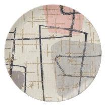 Mid Century Modern Abstract Melamine Plate